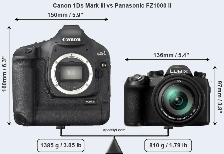 Size Canon 1Ds Mark III vs Panasonic FZ1000 II