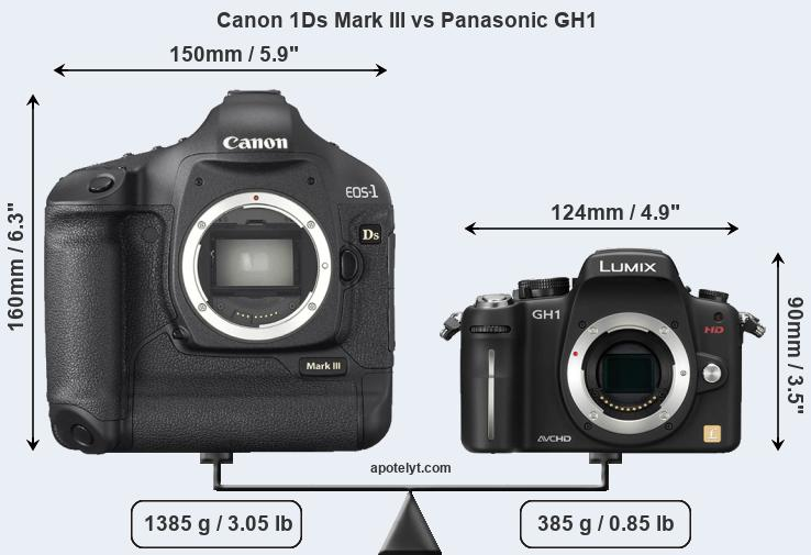 Size Canon 1Ds Mark III vs Panasonic GH1
