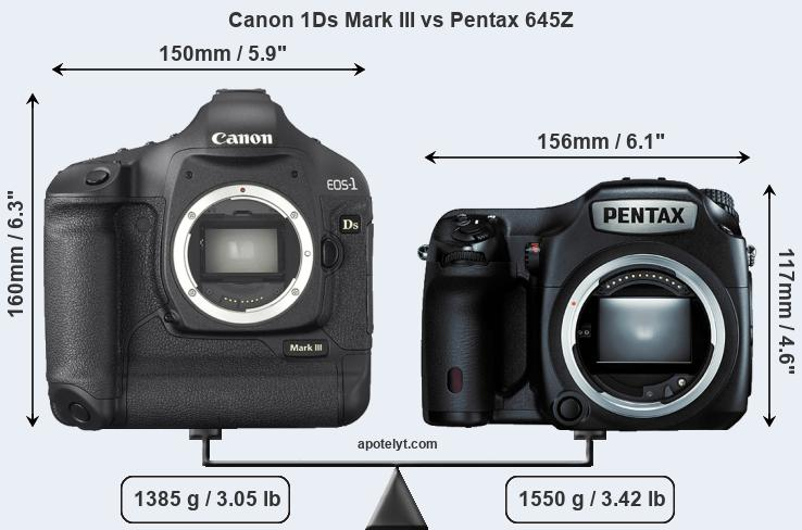 Compare Canon 1Ds Mark III and Pentax 645Z