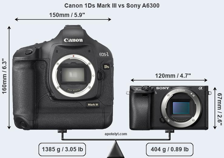 Size Canon 1Ds Mark III vs Sony A6300