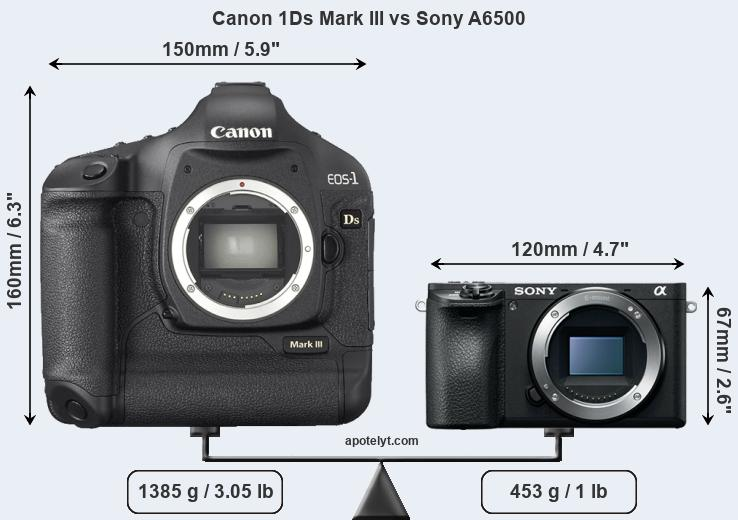 Compare Canon 1Ds Mark III and Sony A6500