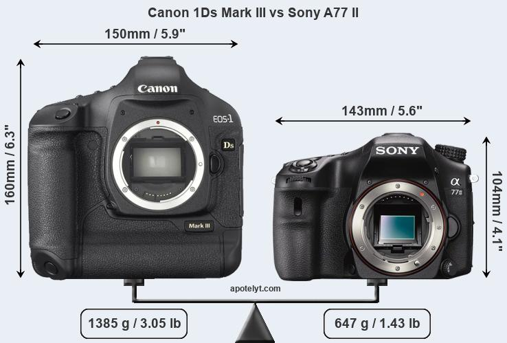 Size Canon 1Ds Mark III vs Sony A77 II