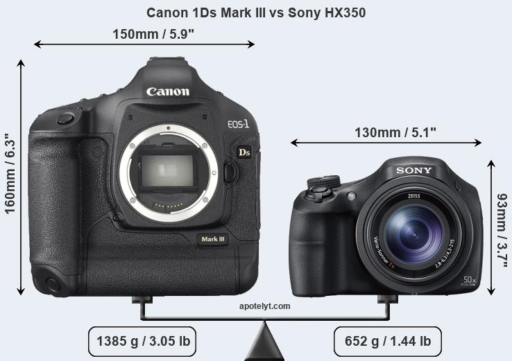 Size Canon 1Ds Mark III vs Sony HX350