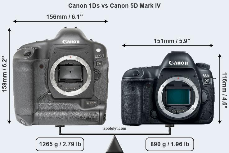 Size Canon 1Ds vs Canon 5D Mark IV