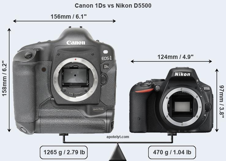 Compare Canon 1Ds and Nikon D5500