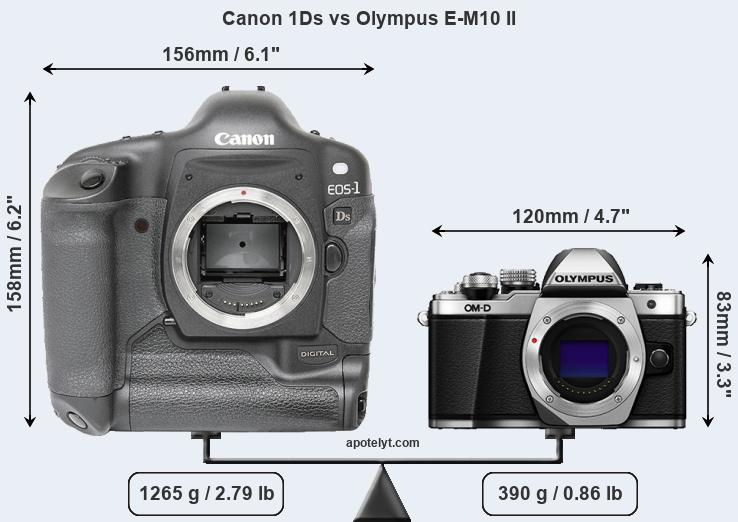 Compare Canon 1Ds and Olympus E-M10 II