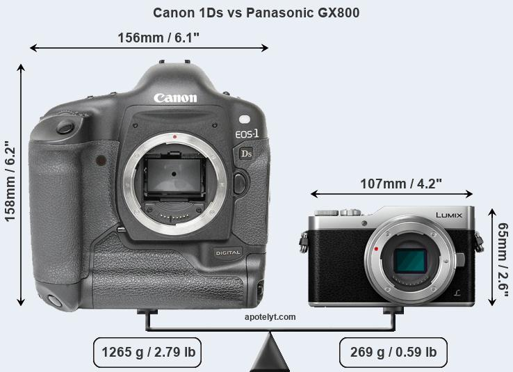 Compare Canon 1Ds and Panasonic GX800