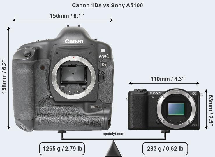 Compare Canon 1Ds and Sony A5100