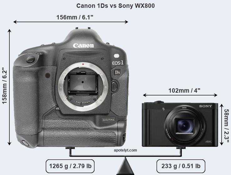 Size Canon 1Ds vs Sony WX800