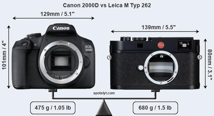 Size Canon 2000D vs Leica M Typ 262