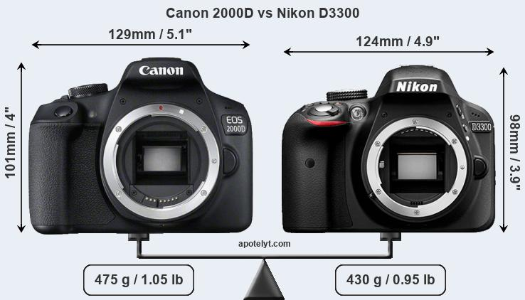Compare Canon 2000D and Nikon D3300