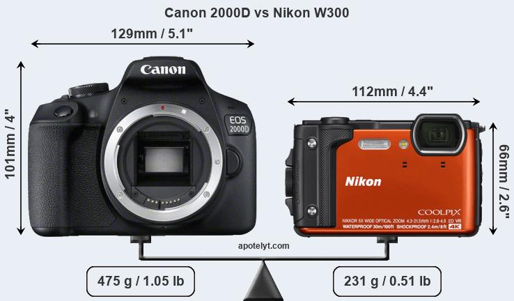 Compare Canon 2000D and Nikon W300