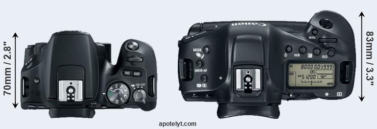 200D versus 1DX Mark II top view