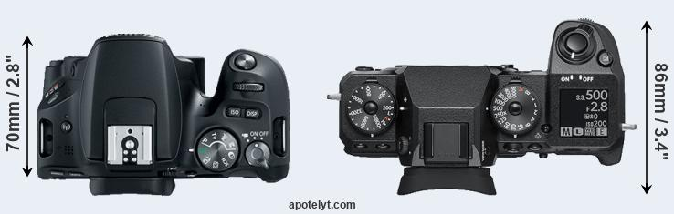 200D versus X-H1 top view