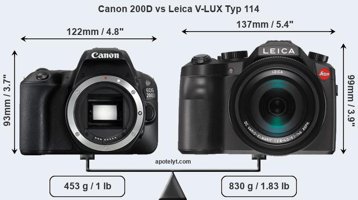 Size Canon 200D vs Leica V-LUX Typ 114