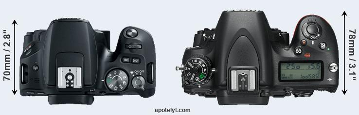 200D versus D750 top view
