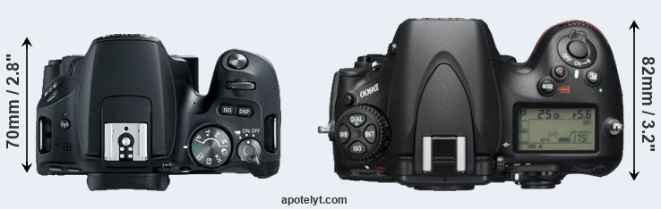 200D versus D800 top view