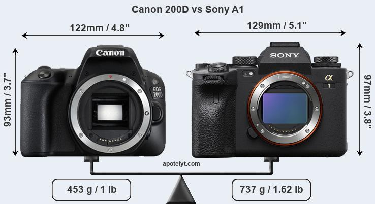 Size Canon 200D vs Sony A1