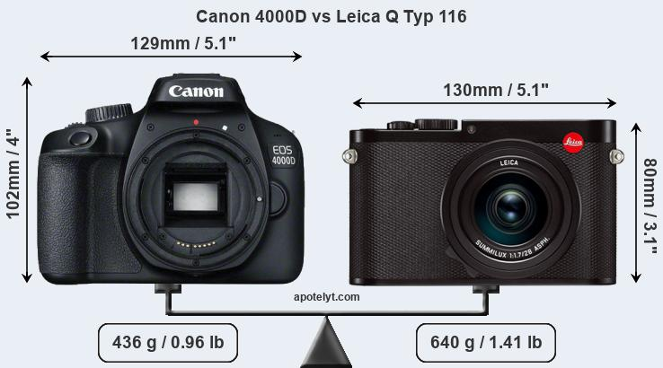 Size Canon 4000D vs Leica Q Typ 116