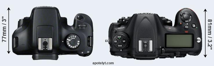 4000D versus D500 top view