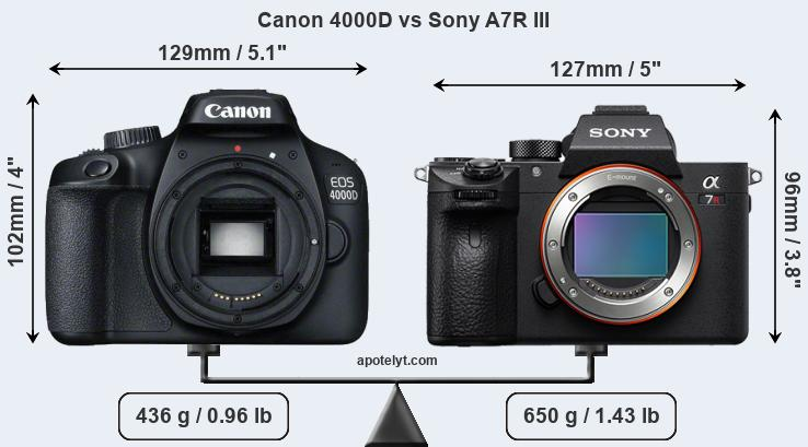 Size Canon 4000D vs Sony A7R III