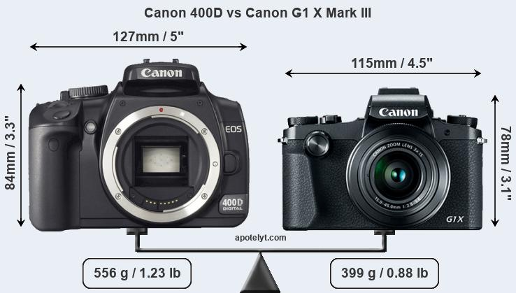 Compare Canon 400D and Canon G1 X Mark III