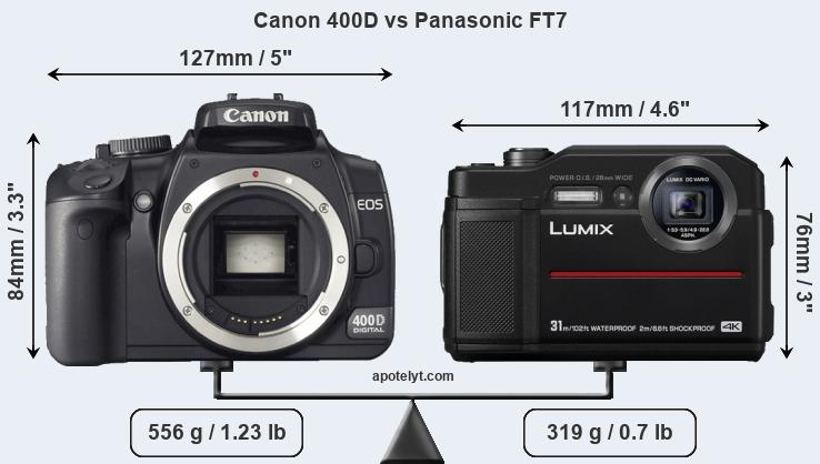 Size Canon 400D vs Panasonic FT7