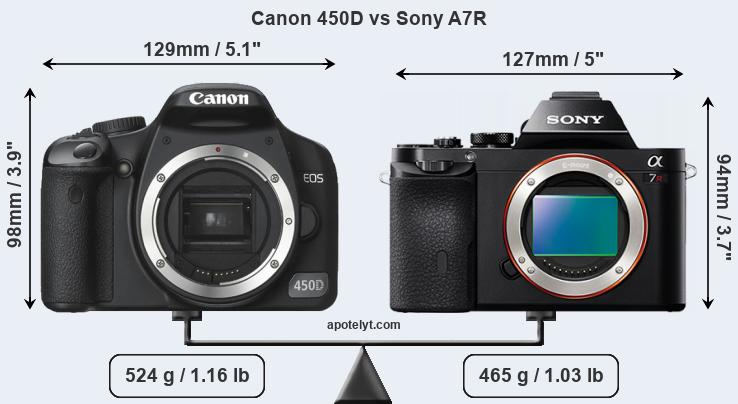 Size Canon 450D vs Sony A7R