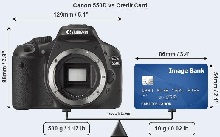 Canon 550D vs credit card front