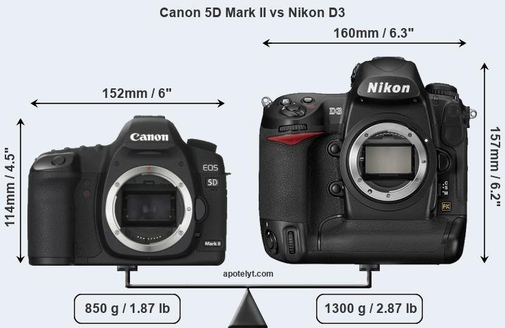 Size Canon 5D Mark II vs Nikon D3
