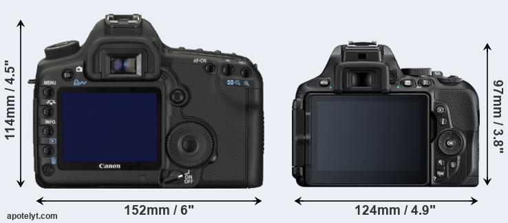 5D Mark II and D5600 rear side