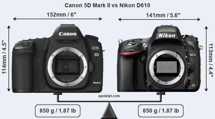 Size Canon 5D Mark II vs Nikon D610