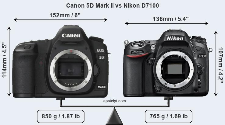 Size Canon 5D Mark II vs Nikon D7100
