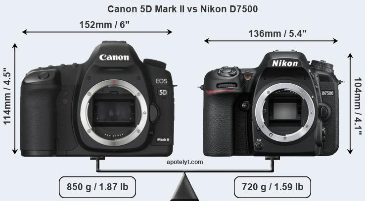 Size Canon 5D Mark II vs Nikon D7500