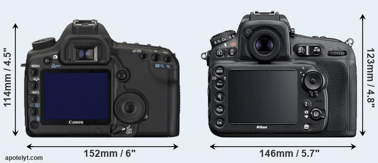5D Mark II and D810 rear side