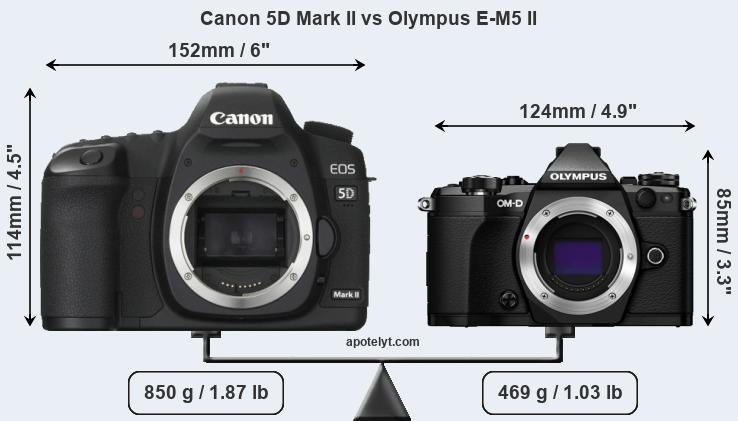 Compare Canon 5D Mark II vs Olympus E-M5 II