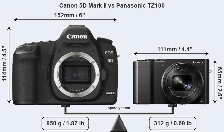 Size Canon 5D Mark II vs Panasonic TZ100