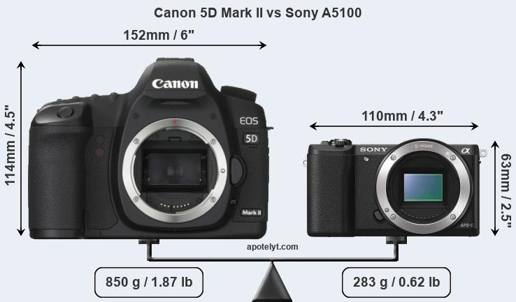 Size Canon 5D Mark II vs Sony A5100