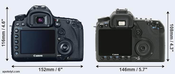 5D Mark III and 40D rear side
