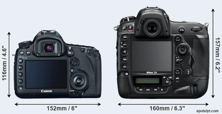 5D Mark III and D4 rear side