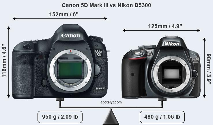 Size Canon 5D Mark III vs Nikon D5300