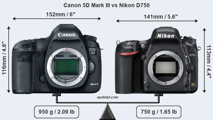 Size Canon 5D Mark III vs Nikon D750