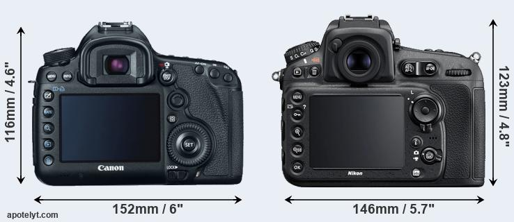 5D Mark III and D810 rear side