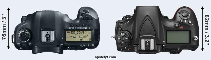 5D Mark III versus D810 top view