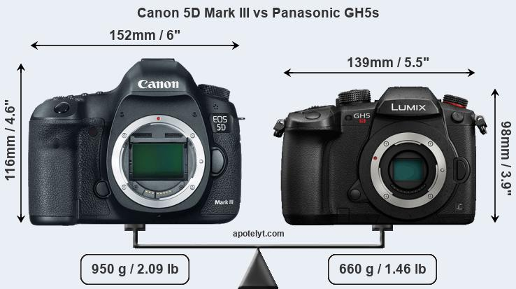 Size Canon 5D Mark III vs Panasonic GH5s