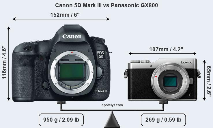 Size Canon 5D Mark III vs Panasonic GX800