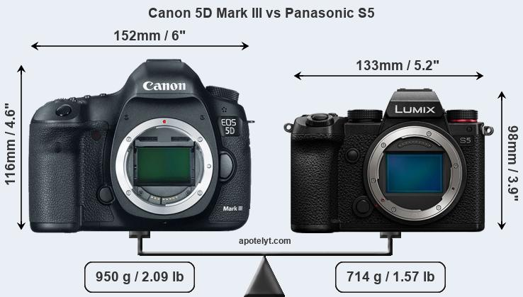 Size Canon 5D Mark III vs Panasonic S5