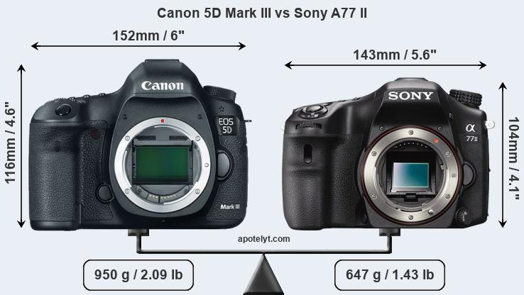 Size Canon 5D Mark III vs Sony A77 II