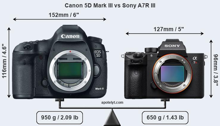 Size Canon 5D Mark III vs Sony A7R III