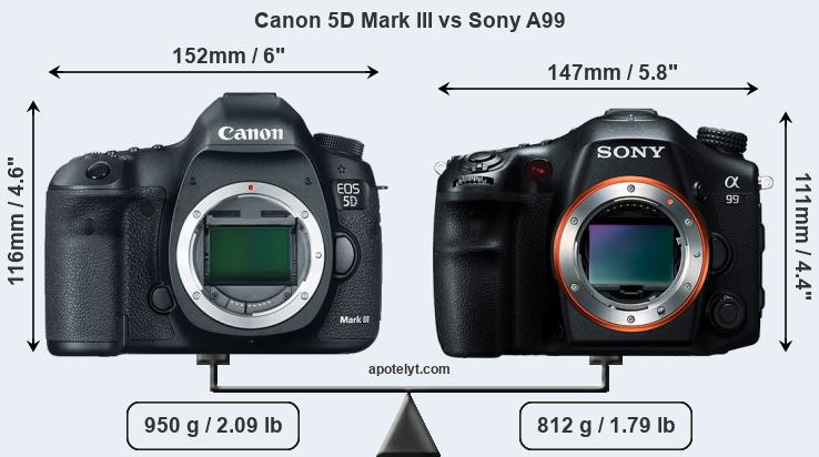 Size Canon 5D Mark III vs Sony A99